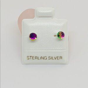 Sterling Silver 925 Rainbow Crystal Studs Earrings